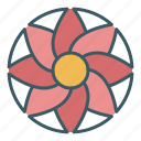 bloom, blossom, circle, flower, sun icon