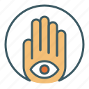 circle, eye, foresight, hamsa, hand, inner, sight icon