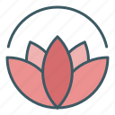 bloom, blossom, circle, flower, harmony, lotus, yoga icon