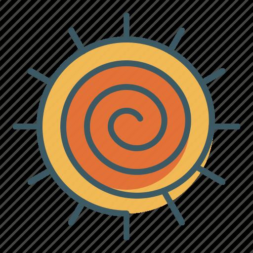 meditation, sign, spiral, sun, yoga icon