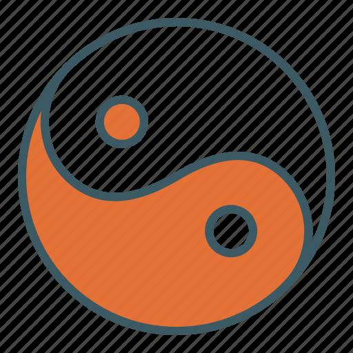 balance, circle, cultural, harmony, sign, yin yang icon