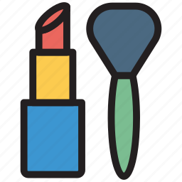 brushes, cosmetic, lipstick, makeup icon