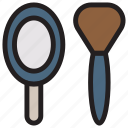 brush, makeup, mirror, spa icon