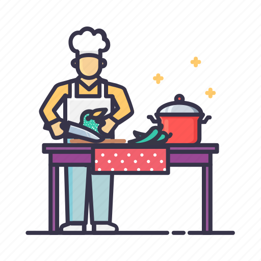 chef, cook, fruits, home, kitchen, service, vegetables icon
