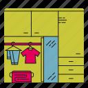 bedroom, clothes, storage, wardrobe icon