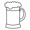 alcohol, barley, beer, dark, glass, line, outline icon