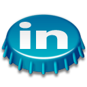 beer cap, linkedin icon
