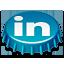 beer cap, linkedin icon