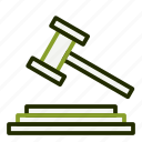 gavel, hammer, justice, law, legal icon