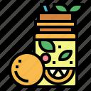 fruit, juice, organic, vegan icon