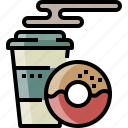 breakfast, chocolate, coffee, doughnut, drink, hot
