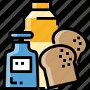 bread, breakfast, drink, milk, school
