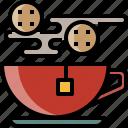 breakfast, cookie, drink, hot, tea, water