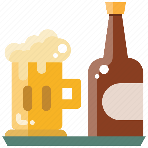 alcohol, beer, bottle, drink, glass, party icon