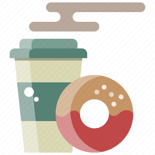 breakfast, chocolate, coffee, doughnut, drink, hot icon