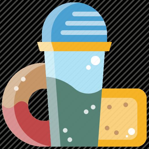 breakfast, doughnut, drink, juice, milkshake, water icon
