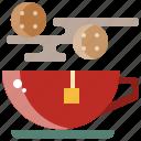 breakfast, cookie, drink, hot, tea, water icon