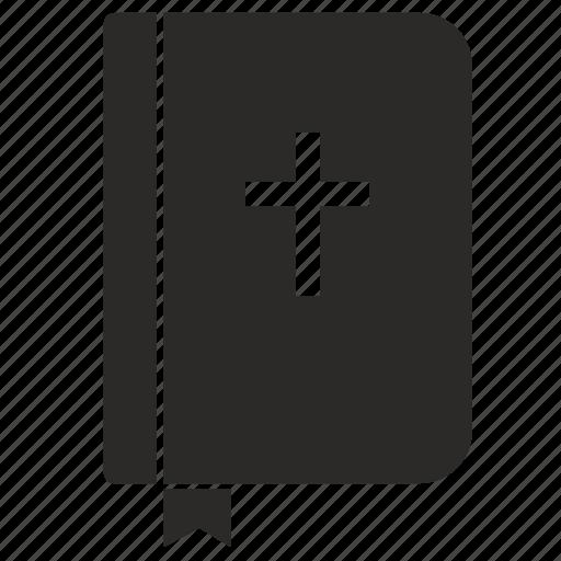 bible, bookmark, cover, cross, religion icon