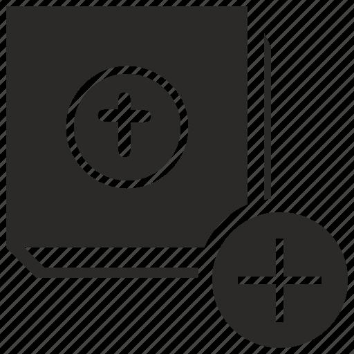 add, bible, book, create, plus icon