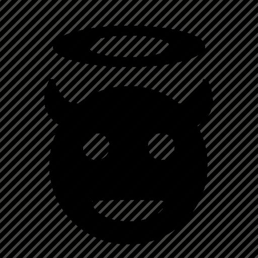 angel, devil, face, god, hell, smile icon