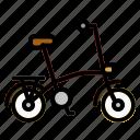 bicycle, bike, exercise, folding, transport icon