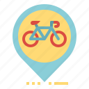 bicycle, location, map, pin, pointer icon