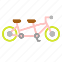 bicycle, bike, ecology, tandem, transportation icon