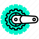 bicycle, gear, parts, spare, system icon
