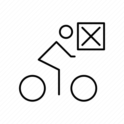 bicycle, bike, closed, cyclist, mark, transport icon