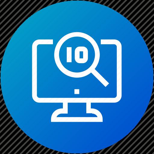 analysis, big data, magnifier, monitor icon