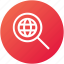 global, magnify glass, network, search