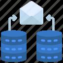data, communication, databases, email icon