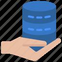 give, data, database, hand