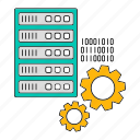 configuration, data, gear, server, storage, technology icon
