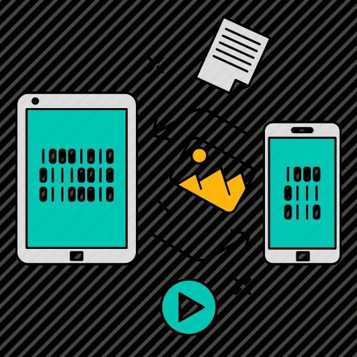 conversion, data, exchange, storage, technology icon