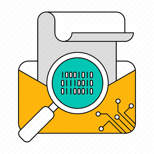 data, email, mail, search, storage, technology icon