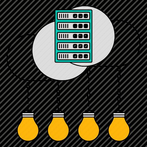 data, idea, innovation, server, storage, technology icon