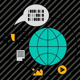 data, globe, media, social, storage, technology icon