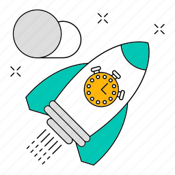 data, market, rocket, seo, storage, technology, time icon