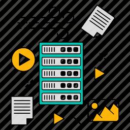 data, lose, server, storage, technology, unstructured icon