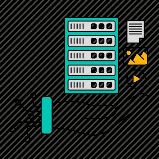 data, digital, server, storage, structured, technology icon