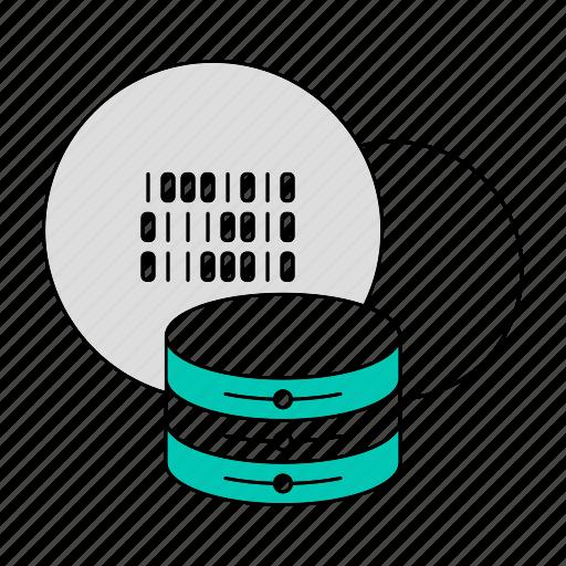 binary code, cloud, data, database, storage, technology icon