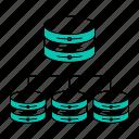 data, database, distributed, storage, technology icon
