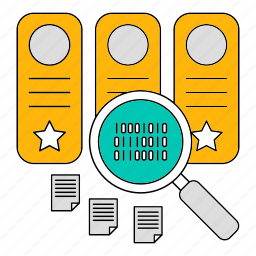 data, database, document, search, storage, technology icon