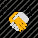 data, database, deal, digital, handshake, storage, technology icon