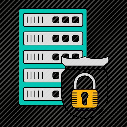 data, database, protect, server, shield, storage, technology icon