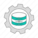 data, database, gear, setting, storage, technology icon