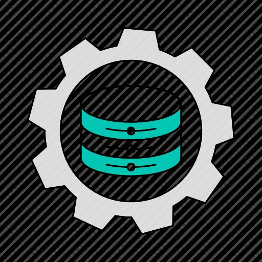 data, database, gear, setting, storage, technology icon