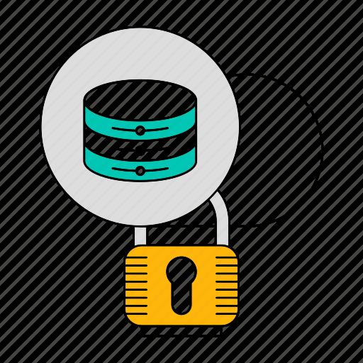 cloud, data, database, padlock, security, storage, technology icon
