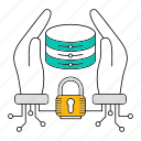 data, database, padlock, security, storage, technology icon